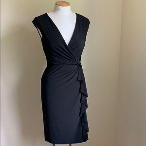 Ralph Lauren Black Jersey Ruched Jersey Dress